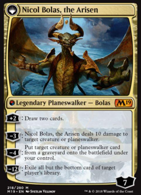Nicol Bolas, the Arisen(基本セット2019)公式カード画像
