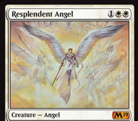 【基本セット2019】白神話天使「Resplendent Angel」が公開!白白1で3/3飛行&5点以上ライフを得たターンの終了時に4/4飛行・警戒の天使トークンを生成&白白白3を支払うことで自身に+2/+2修正と絆魂を付与!