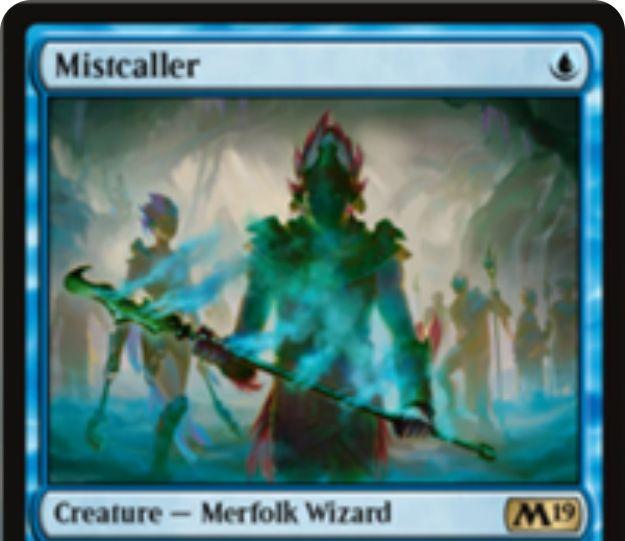 【基本セット2019】青レアのマーフォーク「Mistcaller」が公開!1マナ1/1&自身を生贄に捧げることで、ターン中に唱えられずに戦場に出たクリーチャーを追放するマーフォーク・ウィザード!