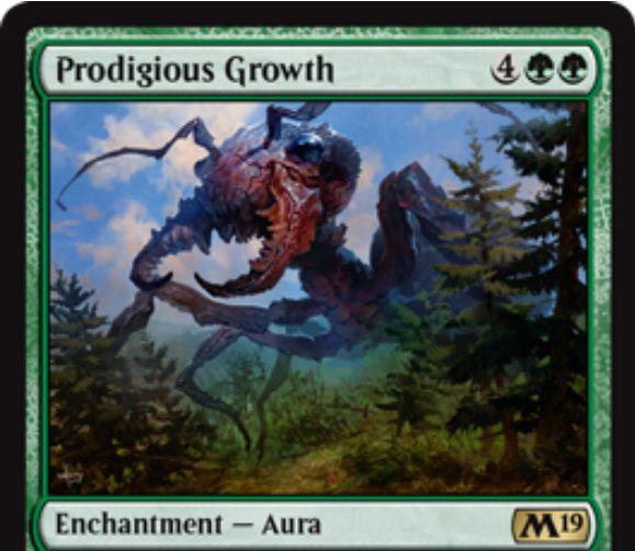 【基本セット2019】緑レアのオーラ「Prodigious Growth」が公開!緑緑4で生物にエンチャントし、+7/+7の修正とトランプルを付与する!