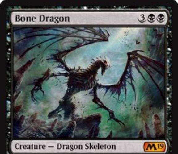 【基本セット2019】黒神話のスケルトン・ドラゴン「Bone Dragon」が公開!黒黒3で5/4「飛行」&黒黒3を支払って墓地のカード7枚を追放すると、墓地からタップ状態で戦場に舞い戻る!