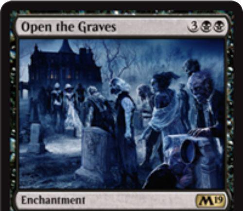 【基本セット2019】黒レアのエンチャント「Open the Graves」が公開!黒黒3で設置し、あなたのトークンでない生物の死亡時に2/2ゾンビトークンを生成する!