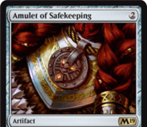 【基本セット2019】レアのアーティファクト「Amulet of Safekeeping」が公開!2マナで設置し、相手の「あなたを対象にする呪文や能力」に追加1マナを要求!トークンのパワーを1マイナスする効果も!
