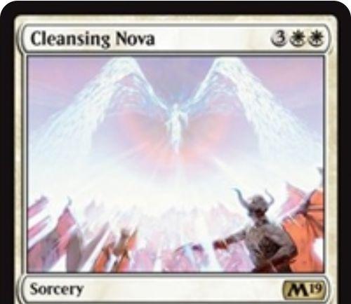 【基本セット2019】白レアのソーサリー「Cleansing Nova」が公開!白白3で「全クリーチャー」か「全アーティファクト&全エンチャント」を選んで破壊する全体除去!