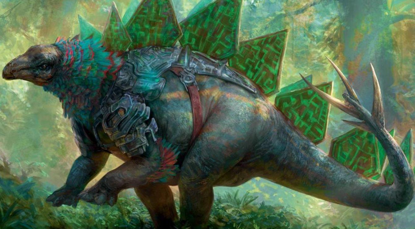 【基本セット2019】緑レア恐竜「Runic Armasaur」が公開!緑緑1で2/5&対戦相手のマナ能力でない土地かクリーチャーの能力起動時にドローをもたらす!
