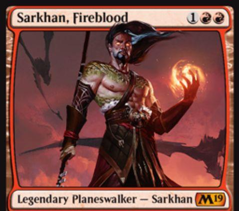 【基本セット2019】赤神話のサルカン「Sarkhan, Fireblood」が公開!赤赤1で初期忠誠値3!【+1】1枚捨ててから1枚ドロー【+1】ドラゴン呪文にのみ使える好きな色マナ2点を生産【-7】赤で5/5「飛行」のドラゴントークンを5体生成するプレインズウォーカー・サルカン!