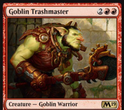 【基本セット2019】赤レアのゴブリン戦士「Goblin Trashmaster」が公開!赤赤2で3/3&他のゴブリンに+1/+1修正&ゴブリンを生贄に捧げ、アーティファクトを破壊!