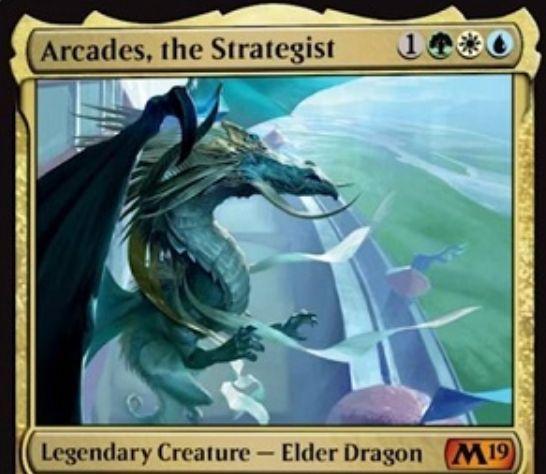 【基本セット2019】伝説神話アルカデス「Arcades, the Strategist」が公開!緑白青1で3/5飛行・警戒!自軍に防衛持ちが出るたびドローをもたらし、防衛持ちのアタック制限をなくしつつタフネスで戦闘ダメージを与えるようにする伝説のエルダー・ドラゴン!