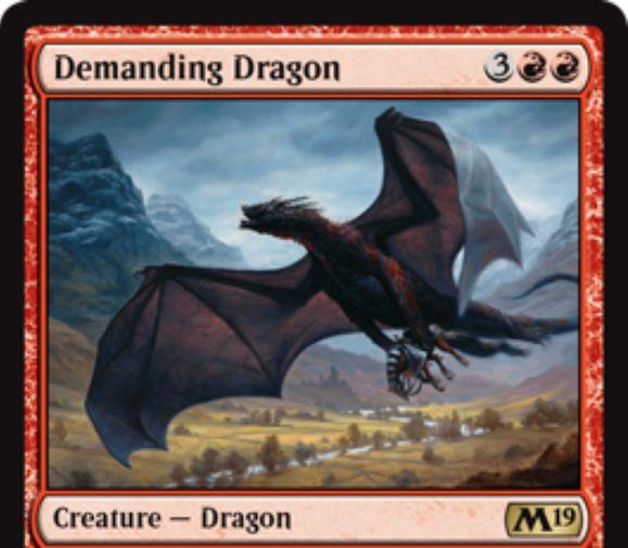 【基本セット2019】赤レアのドラゴン「Demanding Dragon」が公開!赤赤3で5/5飛行&戦場に出た際に、対戦相手に「自軍クリーチャー1体の生贄」か「自分に5点ダメージ」かを選ばせる!