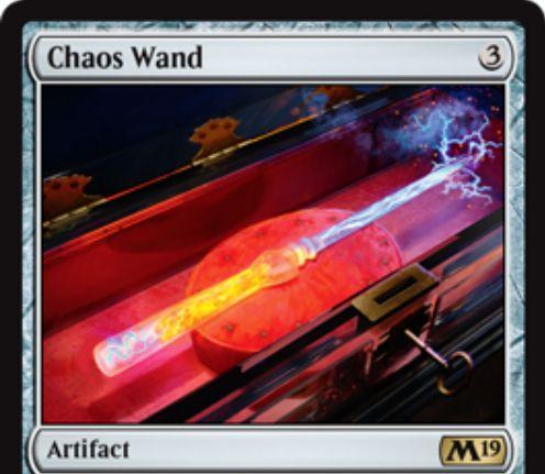 【基本セット2019】レアのアーティファクト「Chaos Wand」が公開!3マナで設置し、4マナとタップで起動!相手のライブラリートップをインスタントかソーサリーがめくれるまで追放し、公開されたインスタントかソーサリーはノーコストプレイできる!