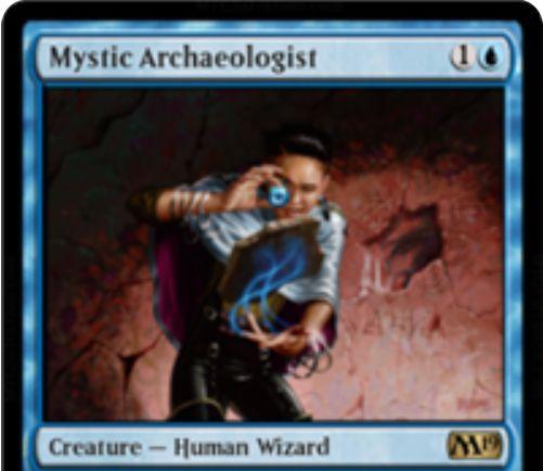 【基本セット2019】青レア生物「Mystic Archaeologist」が公開!2マナ2/1&青青3で2枚ドローできる人間ウィザード!