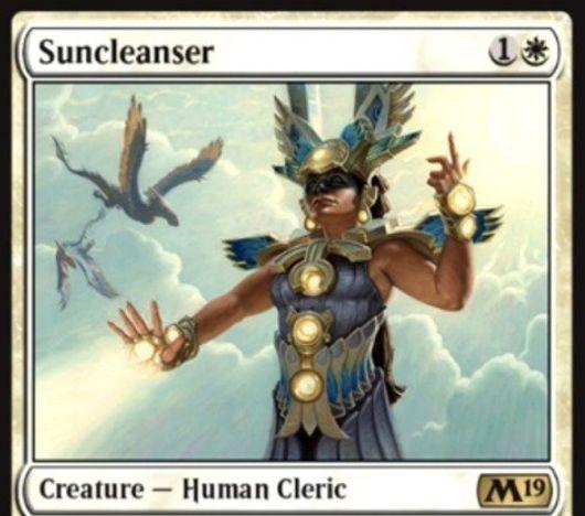 【基本セット2019】白レア生物「Suncleanser」が公開!白1で1/4&CIPでクリーチャーかプレイヤーの全カウンターを失わせ、このカードが戦場にいるかぎりカウンターを得られなくする人間クレリック!