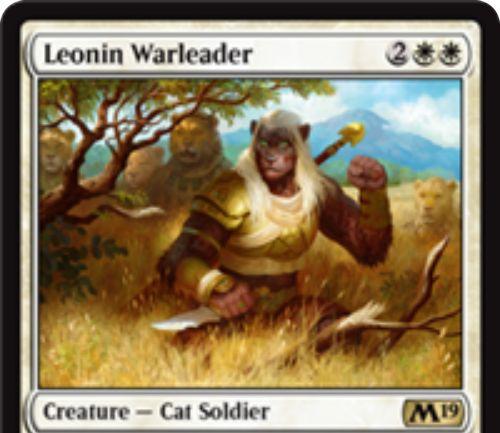 【基本セット2019】白レアの猫兵士「Leonin Warleader」が公開!4マナ4/4&アタック時に1/1絆魂の白猫トークン2体をアタック状態で戦場に出す!