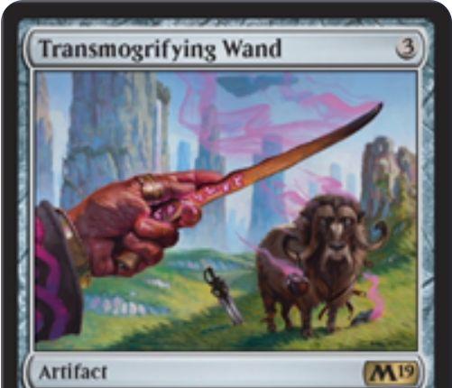 【基本セット2019】レアのアーティファクト「Transmogrifying Wand」が公開!3マナで3個の蓄積カウンターとともに戦場に出て、1マナ・タップ・蓄積カウンター1個で対象のクリーチャーを破壊し、コントローラーに白で2/4の雄牛トークンをプレゼント!