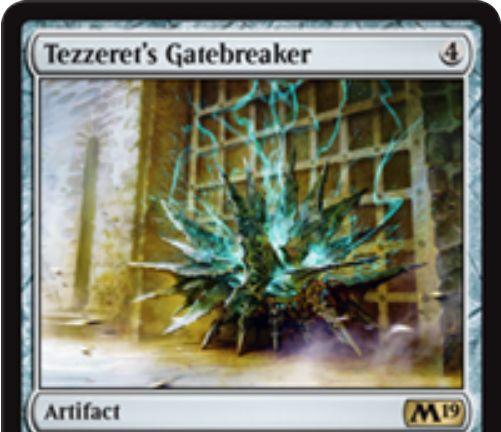 【基本セット2019】テゼレットの門破り(Tezzeret's Gatebreaker)が公開!4マナで設置し、CIPでライブラリートップ5枚から青のカード1枚を手札に加えるアーティファクト!青5&タップ&生贄で自軍の全クリーチャーをブロック不可にする効果も!