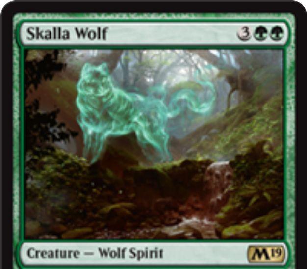 【基本セット2019】スカラ狼(Skalla Wolf)が公開!緑緑3で3/3&CIPでライブラリートップ5枚から緑のカード1枚をサーチするPWデッキ「ビビアン」限定の狼スピリット!