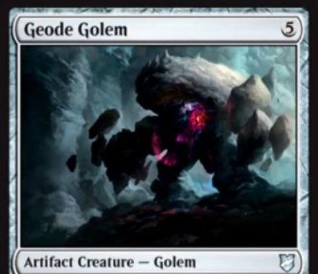 【統率者2018】ゴーレム生物「Geode Golem」が公開!5マナ5/3トランプル&プレイヤーに戦闘ダメージを通すと、統率者をマナ不要で唱えられる!