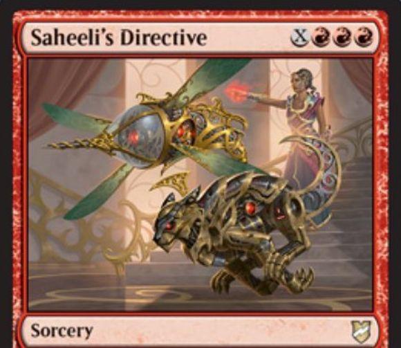 【統率者2018】赤のソーサリー「Saheeli's Directive」が公開!赤赤赤XでライブラリートップX枚を公開し、Xマナ以下のアーティファクトを戦場に出す「即席」持ちのソーサリー!残りは墓地へ!