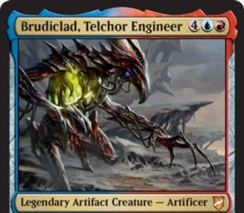 【統率者2018】伝説の青赤機械工匠「Brudiclad, Telchor Engineer」が公開!6マナ4/4&自軍トークンに速攻を付与&自ターンの戦闘開始時に2/1のマイア・トークンを生成&自軍の全トークンを選んだトークンのコピーに変える!