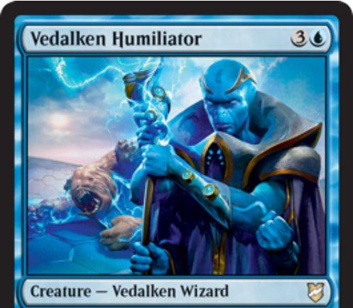【統率者2018】青生物「Vedalken Humiliator」が公開!4マナ3/4&攻撃時に「金属術」の条件を満たしていれば、相手の全クリーチャーを1/1バニラに変えるヴィダルケン・ウィザード!