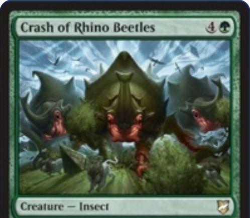 【統率者2018】緑昆虫「Crash of Rhino Beetles」が公開!5マナ5/5トランプル&自軍の土地が10枚以上なら+10/+10!