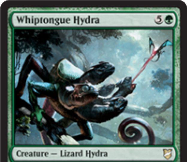 【統率者2018】緑のトカゲハイドラ「Whiptongue Hydra」が公開!6マナ4/4到達&ETBで飛行クリーチャーを全破壊&破壊した飛行クリーチャーの数だけ+1/+1カウンターを獲得!
