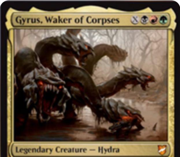 【統率者2018】ジャンドの伝説神話ハイドラ「Gyrus, Waker of Corps」が公開!黒赤緑Xで唱え、使用したマナの数だけ+1/+1カウンターが乗った状態で戦場に出る!アタック時に墓地のクリーチャーのコピーを生産する能力も!