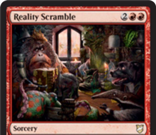 【統率者2018】赤ソーサリー「Reality Scramble」が公開!赤赤2で自軍パーマネント1つをライブラリーボトムに送り、ライブラリートップから同じタイプがめくれるまでカードを公開して戦場に出す!キーワード能力「回顧」で墓地から唱えることも可能!