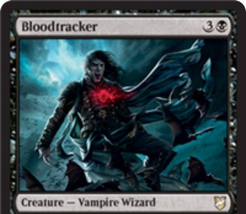 【統率者2018】黒の吸血鬼ウィザード「Bloodtracker」が公開!4マナ2/2飛行&黒マナ1点とライフ2点で+1/+1カウンターを獲得&戦場を離れた際にこのカードの上の+1/+1カウンターの数だけドロー!