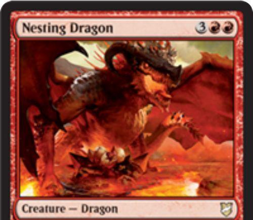 【統率者2018】赤ドラゴン「Nesting Dragon」が公開!赤赤3で5/4飛行&上陸で死亡時に2/2飛行の火吹きドラゴンになる0/2ドラゴンの卵を生成!