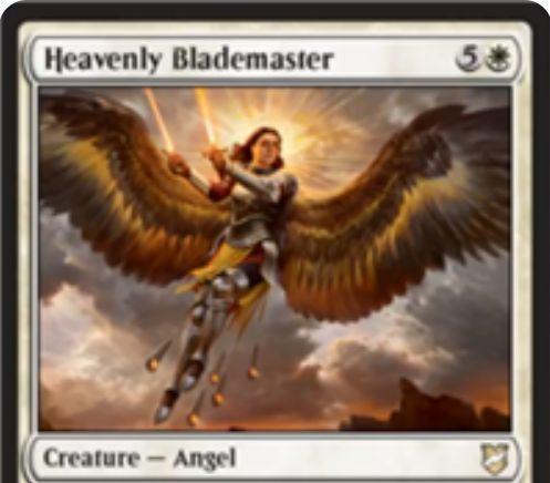 【統率者2018】白天使「Heavenly Blademaster」が公開!6マナ3/6飛行・二段攻撃&ETBで戦場のオーラと装備品を好きなだけ獲得&他のクリーチャーをこのカードのオーラと装備品の数だけパワー・タフネス強化!