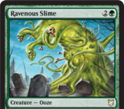 【統率者2018】緑ウーズ「Ravenous Slime」が公開!3マナ1/1&パワー2以下にブロックされない&対戦相手の生物死亡時にそれを追放し、そのパワーの数だけ+1/+1カウンターを獲得!
