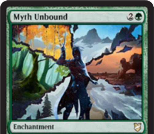 【統率者2018】緑エンチャント「Myth Unbound」が公開!統率者のコストを1軽減!統率者が統率領域に戻ると1ドロー!