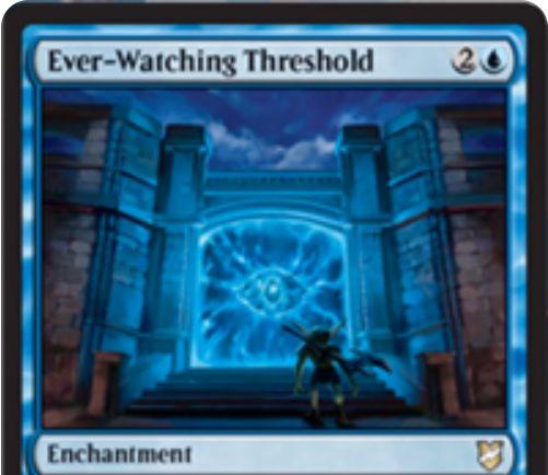【統率者2018】青エンチャント「Ever-Watching Threshold」が公開!対戦相手があなたかあなたのPWを攻撃するたびにドローをもたらす!