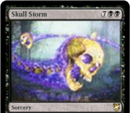 【統率者2018】黒ソーサリー「Skull Storm」が公開!各対戦相手は生物を生贄に捧げ、出来ないなら半数切り上げのライフを失う!また、統率者を唱えた回数だけこのカードはコピーされる!