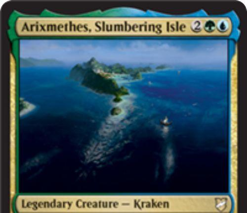 【統率者2018】緑青の伝説クラーケン「Arixmethes, Slumbering Isle」が公開!4マナ12/12!?