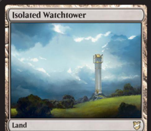 【統率者2018】レア土地「Isolated Watchtower」が公開!2マナ・タップで占術1し、任意でトップを公開!それが基本土地なら戦場にタップインできる(起動条件付き)!