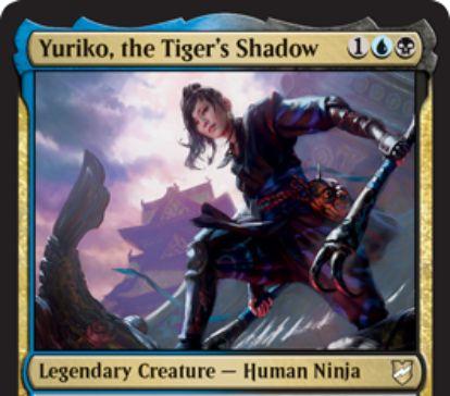 【統率者2018】青黒の伝説忍者「 Yuriko, the Tiger's Shadow」が公開!忍術で統率領域からも戦場に出せる!忍者が戦闘ダメージを通すと、ライブラリートップを公開して手札に加え、そのマナコストだけ対戦相手にダメージ!