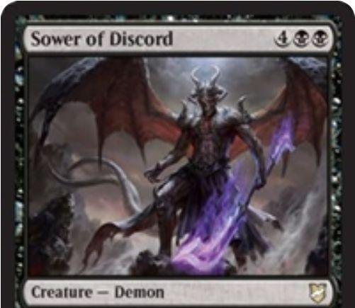 【統率者2018】黒デーモン「Sower of Discord」が公開!6マナ6/6飛行&ETBでプレイヤー2人を選び、痛みを共有させる!