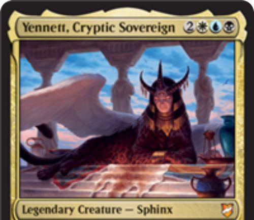 【統率者2018】エスパー伝説神話スフィンクス「Yennett, Cryptic Sovereign」が公開!5マナ3/5飛行・警戒・威迫!アタック時にライブラリートップを公開し、それが奇数マナコストの呪文ならノーコストで唱えられる!