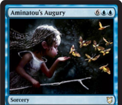 【統率者2018】青ソーサリー「Aminatou's Augury」が公開!青青6でライブラリートップ8枚を追放!その中の土地1枚を戦場に出し、その中のカードをカードタイプごとに1枚ずつノーコストプレイできる!