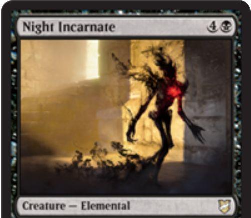 【統率者2018】黒エレメンタル「Night Incarnate」が公開!黒4で3/4接死!戦場を離れると全クリーチャーに-3/-3修正!黒3で「想起」プレイも可能!