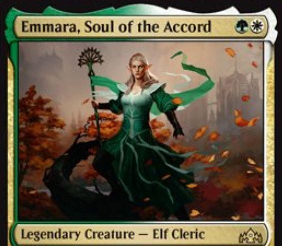 【ラヴニカのギルド】緑白の伝説生物「Emmara, Soul of the Accord」が公開!2マナ2/2&タップ状態になるたびに白の絆魂持ち1/1兵士を生成する「イマーラ」の名を持つエルフ・クレリック!