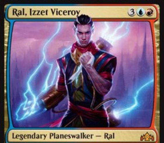 【ラヴニカのギルド】青赤PWラル「Ral, Izzet Viceroy」が公開!【+1】でライブラリートップ2枚を見て1枚を手札に、もう1枚を墓地に!【-3】でクリーチャー1体に墓地と追放領域のスペル分のダメージ!【-8】でスペルを唱えるたびに4点ダメージを好きな対象に与えつつ2ドローする紋章を得る青赤3で初期忠誠5のプレインズウォーカー!(高画質版)