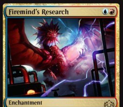 【ラヴニカのギルド】青赤のエンチャント「Firemind's Research」が公開!スペルに反応して蓄積カウンターを獲得!青マナや赤マナとともに蓄積カウンターを消費してドローや火力を放つ!