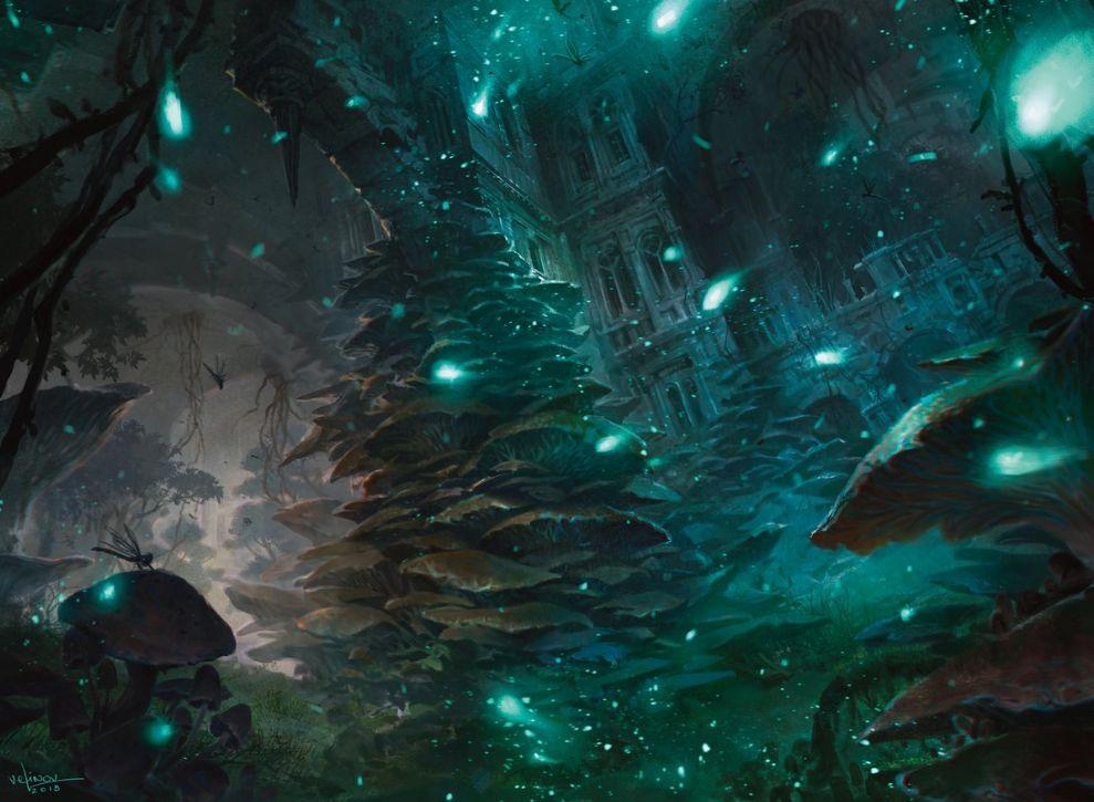 【ラヴニカのギルド】ギルド・キット「ゴルガリ」に収録される「森」(フルアート・イラスト)