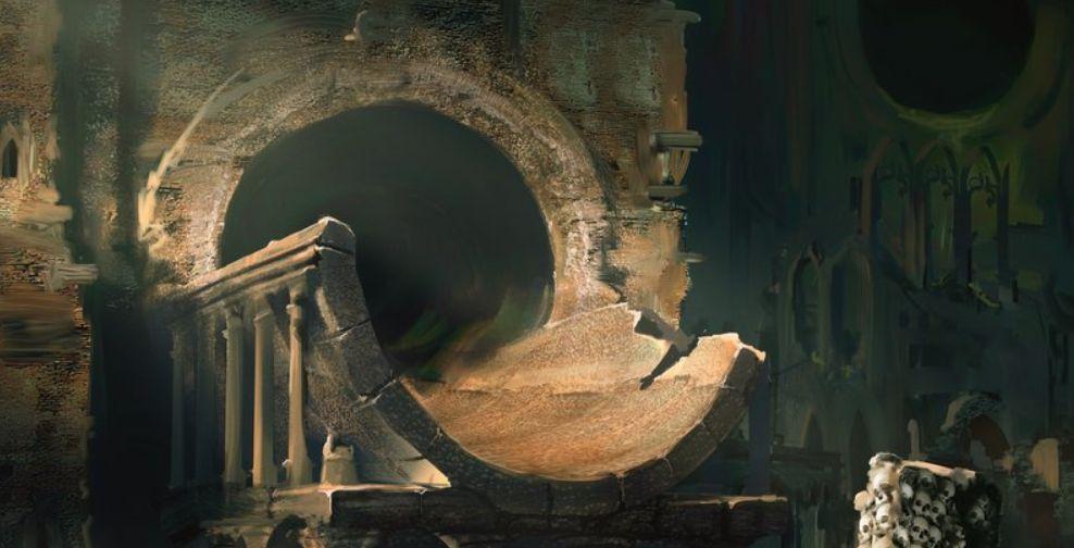 沼(収録:ギルド・キット ゴルガリ)が公開!骸骨や巨大なトンネルが印象的なアート!テキスト枠も「ゴルガリ」仕様に!