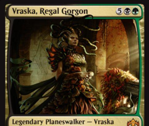 【ラヴニカのギルド】PWデッキ収録のヴラスカ「Vraska, Regal Gorgon」が公開!7マナ初期忠誠5で【+2】+1/+1カウンターと威迫付与【-3】クリーチャー破壊【-10】自軍全体に自墓地クリーチャーの数だけ+1/+1カウンター付与の能力を持つ黒緑のプレインズウォーカー!