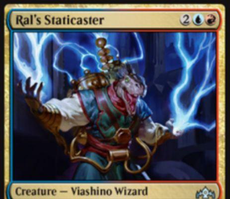 【ラヴニカのギルド】PWデッキ限定の青赤生物「Ral's Staticaster」が公開!4マナ3/3トランプル&アタック時に「ラル」がいるなら手札の枚数だけパワーが強化されるヴィーアシーノ・ウィザード!