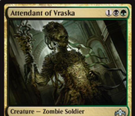 【ラヴニカのギルド】PWデッキ限定収録の黒緑生物「Attendant of Vraska」が公開!3マナ3/3&死亡時に「ヴラスカ」がいれば、このカードのパワーだけライフ回復できるゾンビ兵士クリーチャー!